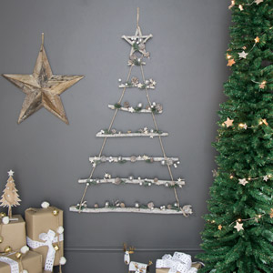 Snowy Rope Ladder Hanging Christmas Tree