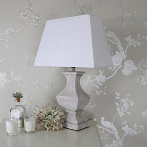 Square Antique White Table Lamp