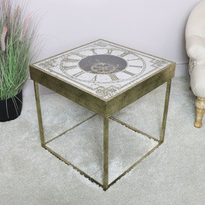 Square Gold Clock Side Table
