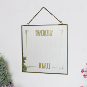 Square Gold Wall Hanging Mirror