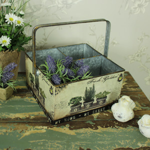 Square Metal Vintage Style 4 Section Storage Caddy