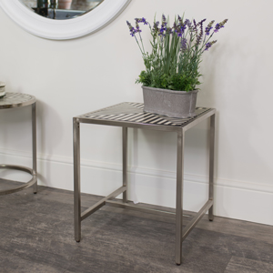 Square Silver Monochrome Side Table