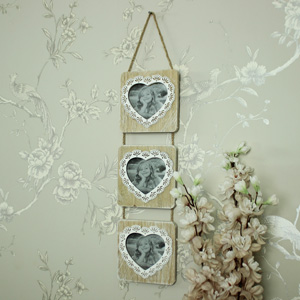 Square Wooden Triple Heart Hanging Photograph Frame