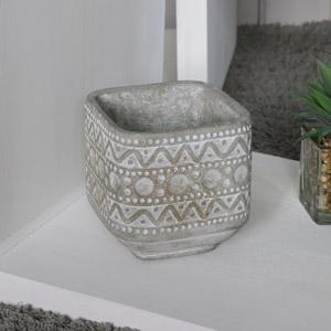 Stone Aztec Design Plant Pot