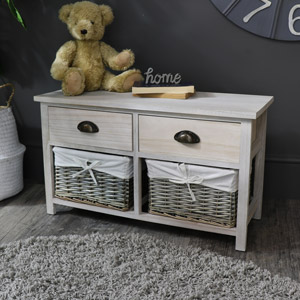 Storage bench wicker unit - Vintage Grey Range