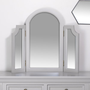 Grey Tabletop Triple Vanity Mirror - Daventry Dove-Grey Range