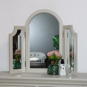 Grey Tabletop Triple Vanity Mirror - Daventry Taupe-Grey Range