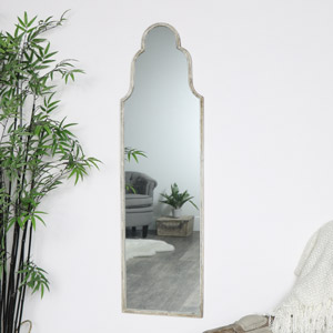 Tall Arched Silver Mirror
