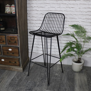 Tall Black Metal Wire Bar Stool