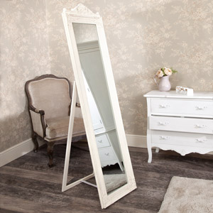 Tall Cream Cheval Mirror 179cm x 44cm