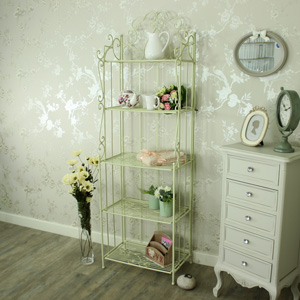 Tall Cream Ornate Metal 5 Tier Shelf Unit