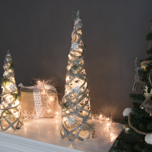 Tall Frosted LED Cone Christmas Tree