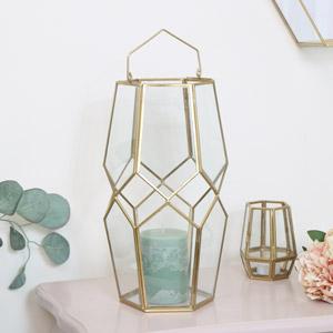Tall Gold Candle Lantern