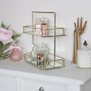 Tall Gold Mirrored 2 Tier Storage Caddy