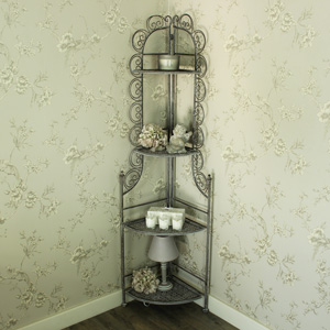 Tall Grey Ornate Iron 4 Tier Corner Shelf