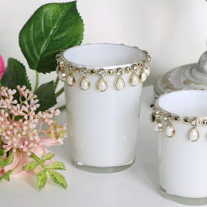 Tall Jewelled Tealight Holder