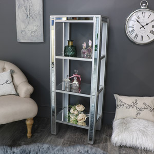 Tall Mirrored Shelf Display Unit - Angelina Range
