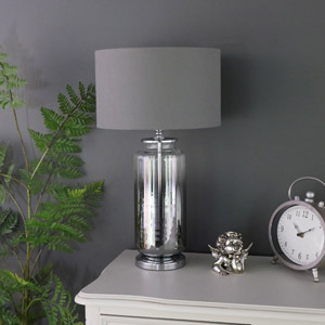 Tall Ombre Glass Lamp with Grey Cotton shade