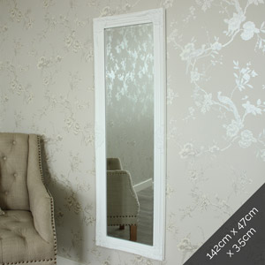 Tall / Long White Ornate Wall / Leaner Mirror 47cm x 142cm