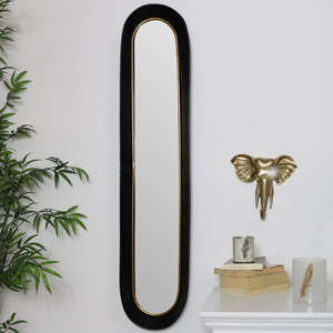 Tall Oval Gold & Black Mirror
