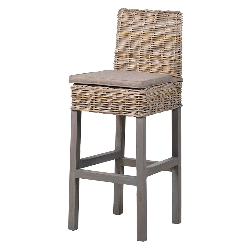 Tall Rattan Topped Bar Stool