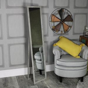 Tall Rustic Grey Floor Standing Cheval Mirror 34cm x 154cm