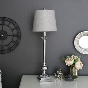 Tall Silver Chrome Table Lamp