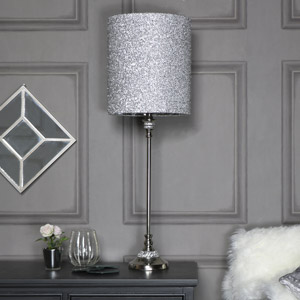 Tall Silver Nickel Diamante Table Lamp