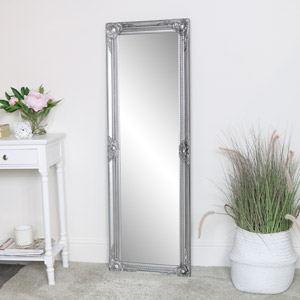 Tall Silver Ornate Bevelled Mirror 47cm x 142cm