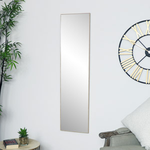 Tall Slim Wooden Rectangle Wall Mirror