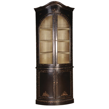 Tall Black Vintage Glazed Corner Display Cabinet with Cupboard - Pierre Range