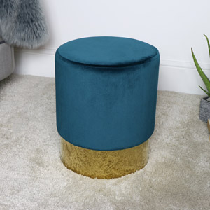 Teal Blue Boudoir Stool