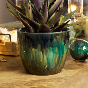 Teal Patterned Planter Pot