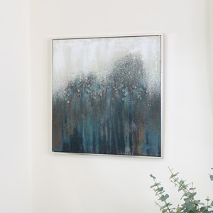 Teal & Silver Crystal Abstract Wall Print Canvas
