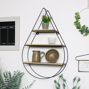Tear Drop Wire & Wood Shelf