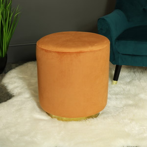 Orange & Gold Velvet Boudoir Stool