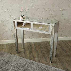 Silver Mirrored Console Dressing Table - Angelina Range