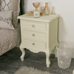 Three Drawer Cream Bedside Cabinet - Elise Cream Range