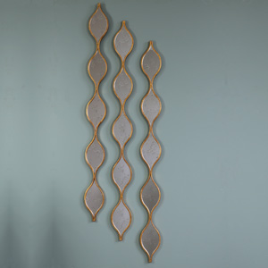 Three Tall Decorative Antique Gold Ripple Wall Mirrors 13.5cm x 146cm