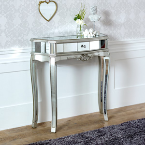 Half Moon Mirrored Console Table - Tiffany Range