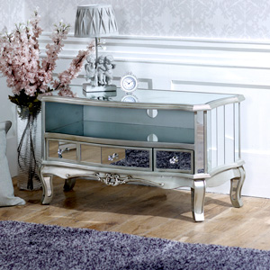 Vintage Silver Mirrored TV Cabinet - Tiffany Range