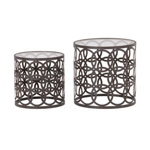 Pair of Round Circle Metal & Glass Side Tables