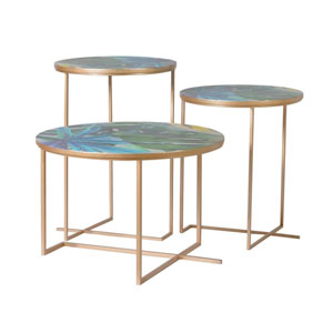 Set of 3 Gold Tropical Leaf Print Tables