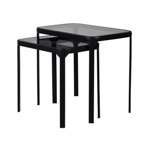 Pair of Black Metal & Glass Side Tables