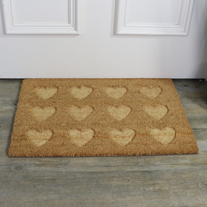 Traditional Coir Heart Pattern Door Mat