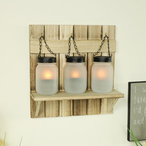 Triple Mason Jar Tealight Candle Holder
