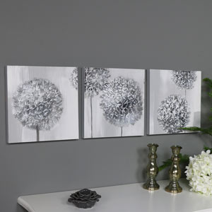 Triptych Wall Art Grey Flower Canvas Print