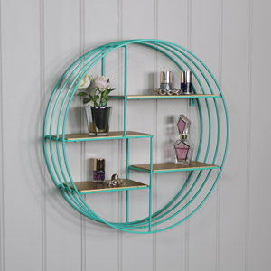 Turquoise & Gold Wire Metal Wall Shelf