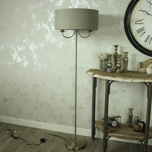 Two Arm Glitter Linen Floor Lamp