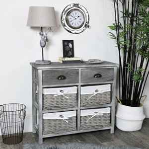 Two Drawer and Four Wicker Basket Drawers Chest - Vintage Grey Range EX-SHOWROOM DISPLAY SECOND 3036